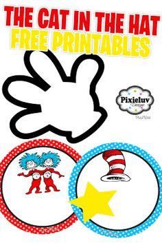 The Cat in the Hat Party Free Printables Dr. Seuss, Dr Seuss Week, Dr Seuss Birthday Party, 2nd Birthday, Birthday Ideas, Cat In The Hat Party, Dr Seuss Crafts, Dr Seuss Activities, Dr Seuss Baby Shower