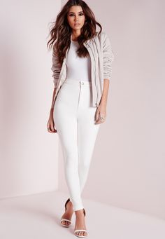 Missguided - Vice Super Stretch High Waisted Skinny Jeans White