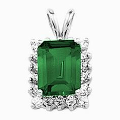Platinum Emerald Cut Chatham Created Emerald and Diamond Pendant Gems-is-Me. $1960.24. FREE PRIORITY SHIPPING. This item will be gift wrapped in a beautiful gift bag. In addition, a 'gift message' can be added.. Save 40%!
