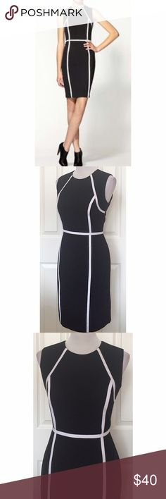 "NWOT Calvin Klein black and white sheath dress NWOT Striking dress. Very flattering on, features a super figure flattering color block. Back zip, fully lined. Measurements waist 30"", bust 39"", hip 39"". Length 37"" Calvin Klein Dresses"