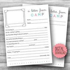 Summer Camp Stationery PRINTABLE / Printable Fill in Camp Letter / Kids Camp Stationery Print Your Own / Summer Camp / INSTANT DOWNLOAD