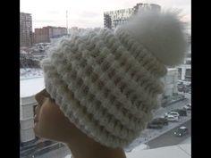 "getlinkyoutube.com-Женская шапка спицами "" Волны""-Women's cap spokes ""Waves"""