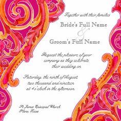 Tangerine and Hot Pink Wedding Invitations.