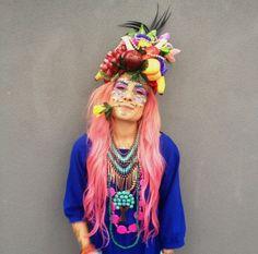 neon headpiece hat fashion - Google Search