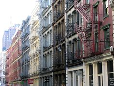 NYC Soho district - iron front colorful buildings