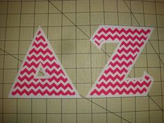 DELTA ZETA SORORITY (NO SEW) 5 INCH IRON ON LETTERS - HOT PINK CHEVRON/WHITE