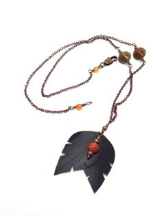 Bike Tube and Agate Necklace on Etsy, $24.00