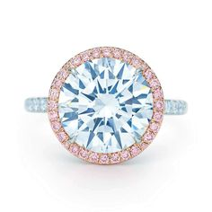 Tiffany & Co. - Tiffany Soleste® diamond ring in platinum with white and Fancy Pink diamonds. from Tiffany & Co. Pink Diamond Engagement Ring, Tiffany Engagement, My Engagement Ring, Diamond Rings, Diamond Jewelry, Pink Jewelry, Luxury Jewelry, Natural Blue Diamond, Pink Topaz