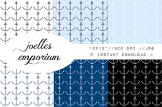 Anchors Digital Paper 6 Pack  Pale Nautical by JoellesEmporium, £2.00