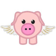 flying pig applique - Cute! Pig Crafts, Tin Can Crafts, This Little Piggy, Little Pigs, Applique Embroidery Designs, Machine Embroidery, Pig Images, Pig Art, Mini Pigs