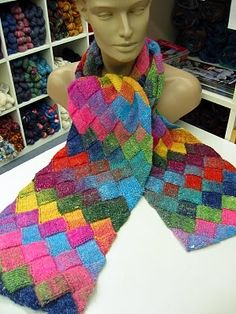 Noro Silk Garden Sock Entrelac Scarf | Noro Creations | Pinterest | Socks, Silk and Scarfs
