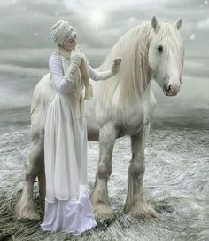 Model in white with grey horse