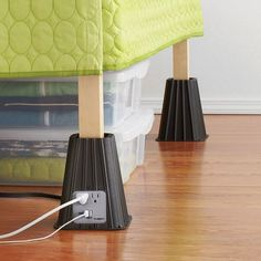 Get some extra storage space under your bed, plus, two extra outlets AND a USB port, with these easy plastic lifts. 7-Inch Power Bed Riser (Set of 4), $29.99, bedbathandbeyond.com   - Seventeen.com