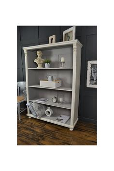 White & Grey Antique Pine Shabby Chic Bookcase - FREE UK DELIVERY