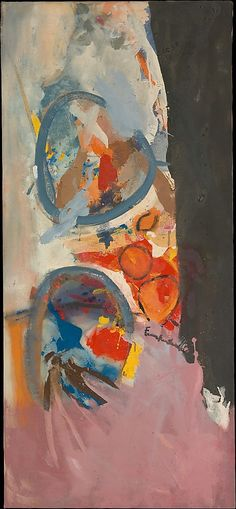 "Take Off 1956.   Helen Frankenthaler / After seeing a show of Jackson Pollock's recent work in New York in 1950, Frankenthaler worked to extend Pollock's drip-and-pour method to include large collagelike forms of color. The year after she made this picture, Frankenthaler commented ""I am involved in making pictures 'hold' an explosive gesture, something that is moving in and out of landscapelike depths but lies flat in local areas—intact but not confined . . . """