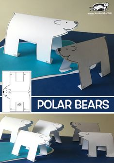 Watch video: printable templates: Watch video: How to make: see more: Winter Crafts For Kids, Art For Kids, Winter Activities, Activities For Kids, Bear Habitat, Artic Animals, Penguins And Polar Bears, Polo Norte, Bear Art