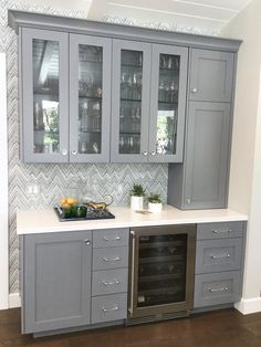 Custom built-in bar with grey cabinetry and wallpaper backsplash by Kimberley Harrison Interiors - L Coffee Bars In Kitchen, New Kitchen, Kitchen Decor, Coffee Bar Built In, Basement Bar Designs, Home Bar Designs, Wet Bar Designs, Basement Ideas, Home Bar Cabinet