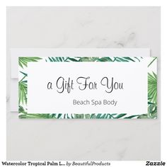 Shop Watercolor Tropical Palm Leaves Gift Certificate created by BeautifulProducts. Gift Certificates, Wedding Thank You, Personal Photo, Palm, Tropical, Place Card Holders, Leaves, Watercolor, Prints