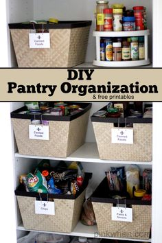 Super simple kitchen pantry organization project with free downloadable printable labels,