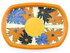 'Umbrellas' a rare Clarice Cliff Fantasque Bizarre tray - Lot 513 - Clarice Clif . 'Umbrellas' a rare Clarice Cliff Fantasque Bizarre tray – Lot 513 – Clarice Cliff, Art Deco & Ce Clarice Cliff, Orange Band, Glass Furniture, Japanese Painting, Wallis, Ceramic Artists, Tribal Art, Asian Art, Rugs On Carpet