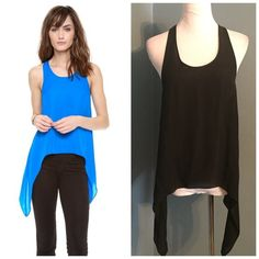 """NWT Madison Marcus black 100% silk high-low tank Madison Marcus is a high-end designer sold in Barney's, Neiman's and Sak's. Celeb favorite. This top retails for $199! You can wear this with everything! 17.5"""" across bust 23' long in front 29' long in back 100% silk Neiman Marcus Tops Blouses"""