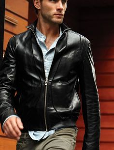 Mens black leather jacket, Men biker leather jacket,