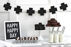 Simple Black and White Dessert Table