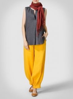 Yellow Daisy Linen Pleated Cuff Ankle Length Pants