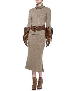 Ralph Lauren Collection Heathered Cashmere Turtleneck Sweater, Long Heather Cashmere Midi Skirt, Suede Antler-Buckle Belt, Suede & Shearling Trapper Hat & Three-Quarter Suede Glove with Shearling Cuffs Fall 2015