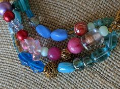 Three-Strand Multicolored Beaded Bracelet with by BrokenHipJewelry