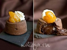 Шоколадный кекс с жидкой начинкой 140 г сливочного масла 225 г горького шоколада, поломанного на кусочки 100 г муки 50 г сахарной пудры 3 больших яйца 3 яичных желтка 1 ч. л. ванильного экстракта