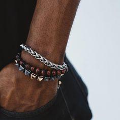 2019 Hommes charme Micro Pave Zircone Couronne Agate /& Lava Stone Bracelets Set