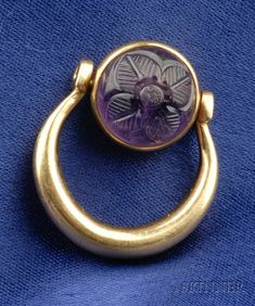 Carved Amethyst Swivel Ring, Bulgari