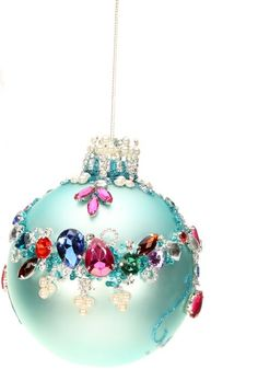 Mark Roberts Christmas Ornaments | King's Jewel Collection | Jeweled Ornaments | Scroll Ornament | Blue Ornaments | 36-43978