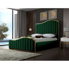 8 Cheap Things to Maximize a Small Bedroom. Furniture, Green Bedding, Meridian Furniture, Green Bedroom Decor, Bedroom Design, Upholstered Platform Bed, Bed Frame And Headboard, Bedroom Bed Design, Furniture Design