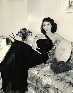 Ava Gardner in her dressing room on the set of The Bribe (1949)