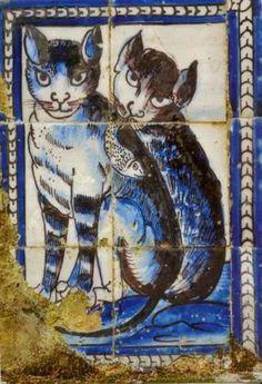 Azulejos do século XVII. Palácio Fronteira, Lisboa. Zoo 2, Antique Tiles, Vintage Tile, Delft Tiles, Mosaic Tiles, Tile Art, Paint Tiles, Tile Painting, Motif Art Deco