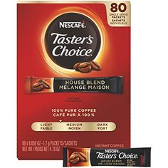 Nescafe Instant Coffee, Ground Coffee, Single Serve, Light Roast, Tasters Choice, 1.7 g Packets (Pack of 80)