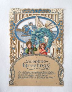 stunning Valentine Greetings card; Victorian pop up 3D dimensional; antique die cut old fashioned card yesteryears Edwardian; ephemera by LisaLiYesterYears on Etsy