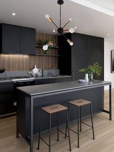 Kitchen Room Design, Home Decor Kitchen, Interior Design Kitchen, New Kitchen, Kitchen Furniture, Black Interior Design, Loft Kitchen, Wood Floor Kitchen, Diy Interior