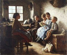 The Reading Lesson-Simon Glücklich – Polish-born German) Woman Reading, Kids Reading, Reading People, Illustration Art, Illustrations, Vintage School, Reading Lessons, Pictures Of People, Beautiful Paintings