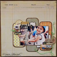 Layout using Creative Scrappers Sketch 202, Crate Paper's Toy Box Collection, Greatest View and A flair For Buttons embellishments.