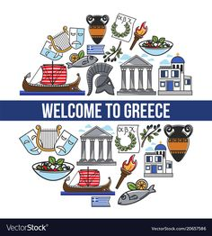 Greece travel symbols and greek culture famous landmarks and poster. vector design of greece flag, athens pantheon acropolis, spartan helmet, santorini Travel Symbols, Two Sisters Cafe, Greek Culture, National Symbols, Famous Landmarks, Cat Treats, Ancient Architecture, Travel Posters, Vector Design