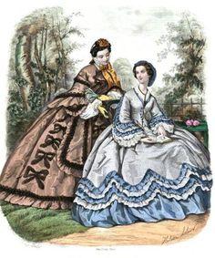 1862. La Mode Illustree. Ruching bows. Bi-colored ruffle flounces.