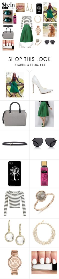 """green skirt"" by sarahmickie on Polyvore featuring MICHAEL Michael Kors, Lucky Brand, The Row, Miss Selfridge, Ippolita, Kate Spade and Michael Kors"