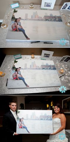 Unique Guestbook Idea! Have your wedding guests sign a canvas print of your engagement photo. This is similar to having them sign the matting around it, which can look nice. I am not sure about it being actually ON the picture...