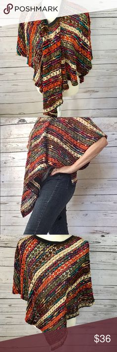 Multicolored Chenille yarn crochet poncho This poncho is so cool! So BoHo and gypsy!. Multi colored soft Chenille yarn stripe pattern. Tags are missing and brand is unknown. Excellent condition! Sweaters Shrugs & Ponchos