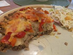 Ginny's Low Carb Kitchen: ANOTHER MEATLOAF PIE - RED PEPPER AND CAULI-RICE