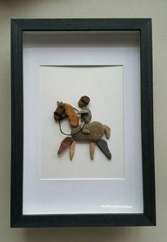 Horseback riding, horse art, pebble horse , farmers gift, Mother's day gift by madebynatureandme on Etsy