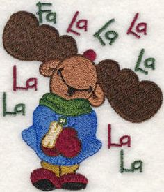 Threadsketches' set Winter Friends - Christmas embroidery designs, Big Black Friday Sale!, moose caroler singing FA LA LA LA LA